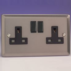 Varilight 2 Gang 13 Amp Switched Electrical Plug Socket Pewter/Slate Grey with Black Insert - XR5B